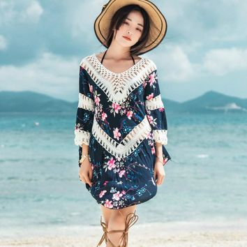One piece loose blouse for women cover ups print floral hollow summer beach dress with sleeves female cover-up skirt
