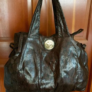 Gucci Copper Snakeskin Hysteria Handbag Extra Large Brown Python Hobo Duffle Bag
