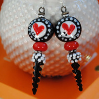 Red Heart Earrings, Spike Earrings, Black and White Earrings, Modern Valentine Earrings, Sweetheart Earrings, Lampwork Glass Earrings