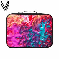 VEEVANV Multicolor Travel Bags For Women Red Blue Colors Pigment Oil Painting Printing Travel Luggage Waterproof Travel Totes
