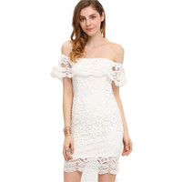 White lace off shoulder ruffle dress