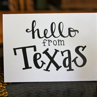 Texas Style - Hello from A Far - Personalized with a City or State - Hand-drawn Stationery (Set of 5)