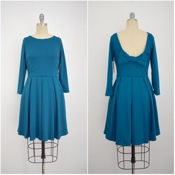 Apricity Vintage Inspired Teal Dark Turquoise Blue Dress