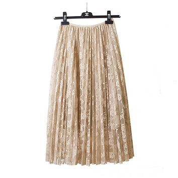 spring and lace hook flower skirt pleated petticoat medium long underskirt elastic waist all match basic half slip