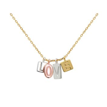 "Silver Rose and Gold 4 Square Plates ""L-O-V-E""  Letters Embossed 16""+2""Necklace"