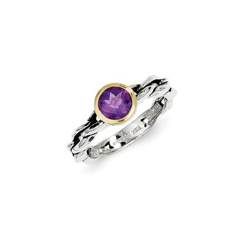 Antique Style Sterling Silver with 14k Gold 6mm .79 Amethyst Ring