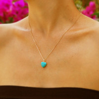 Heart necklace, Turquoise necklace, Valentine's Day, 14k gold filled, turquoise pendant, heart necklace, bridesmaid necklace
