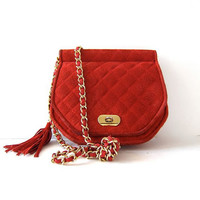 Vintage Red Quilted Purse With Gold Chain and Tassel. Suede Shoulder Purse.