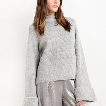 Wide Sleeve Grey Sweater