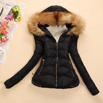 Fur Hoodie Long-Sleeve Zippered Winter Jacket