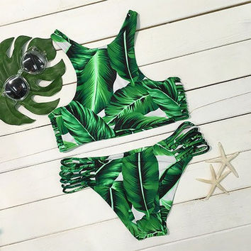 Tropical Leaf Print Bikini