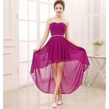 2017 cheap fashion long back short front blue bridesmaid dress under $40 (champagne pink sky dark blue purple red yellow)