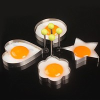 Stainless steel form for frying eggs tools omelette mould device egg/pancake ring egg shaped kitchen appliances