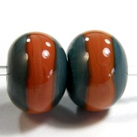 Organic Turquoise Lampwork Beads Orange Hawaiian Clay Band Rustic