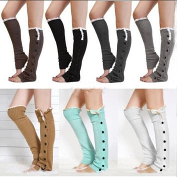 1 pair Lady Knee High Knit Flat Lace Trim Button Down Crochet Leg Warmer Warmers Boot Socks = 1946817924