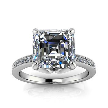 Moissanite Engagement Ring Diamond Setting Asscher Cut - Manila