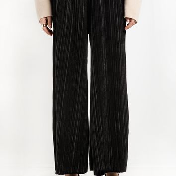 Black Velvet Pleated Pants