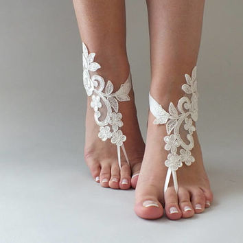 ivory or white  Beach wedding barefoot sandals wedding shoes prom party steampunk bangle beach anklets bridesmaid gift