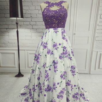 ANGELSBRIDEP Floral Print Prom Dresses 2017 Long Lavender Keyhole Lace Applique A Line Backless Formal Party Gown