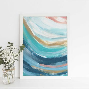 Ocean Swell Abstract Turquoise and Salmon Pink Painting Wall Art Print