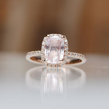 2.24ct Cushion peach champagne sapphire in 14k rose gold diamond ring engagement ring