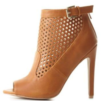 Cut-Out Peep Toe Booties by Charlotte Russe