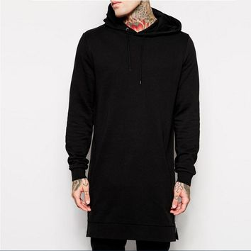 New Arrival Free Shipping Fashion Men's Long Black Hoodies  Feece With Side Zip Longline Hip Hop Streetwear mens hoodies