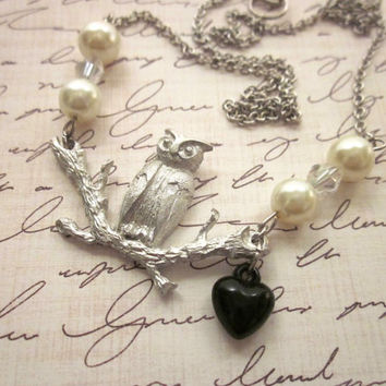 Owl Necklace, Owl Necklace Pearls, Black Heart Owl, Pewter Owl Charm, Owl Pendant, Owl Jewelry
