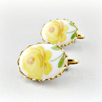 Vintage Porcelain Cameo Earrings, Yellow Rose Flower Floral Earrings, Gold Clip-On Earrings, 1970s Victorian Revival Romantic Jewelry