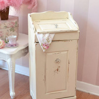 SOLD 8410 - Gorgeous Shabby Cream Wooden Hamper - $125 - The Bella Cottage
