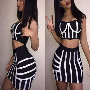 Black-White Striped Spaghetti Straps Backless Two Piece Bodycon Club Mini Dress