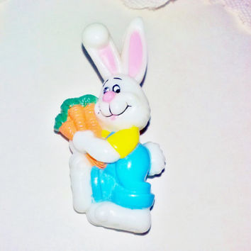 Easter Farmer White Bunny Rabbit Brooch Pin Vintage Peter Cottontail Novelty Easter Summer Spring Woodland Animal Figure Fun Jewelry