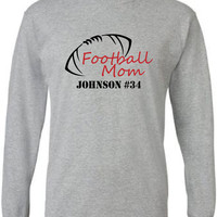 Football mom long sleeved t-shirt.  Personalized with player's name and number.  Football.