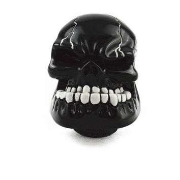 Universal Manual Gear Stick Shifter Lever Knob Wicked Carved Black Skull
