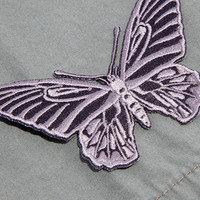Gray Butterfly / Iron-on Patch / Butterfly Embroidery / Papillon Appliqué / Silver / Nature