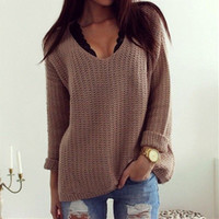 Brown Long Sleeve Knitted Sweater