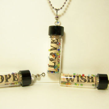 Message in Bottle Pendant-  Unisex Jewelry- Under 20- Personalized-  Bottle Charm-  Vial Pendant- Couples Jewelry