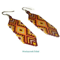 Tribal Beaded Brick Stitch Feather Shaped Earrings Geometric Pattern