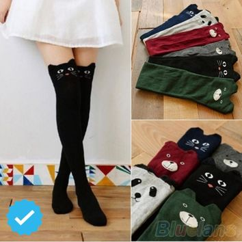 Autumn Winter Thigh High Stockings Women Female Sports Socks Compression Stocking Cat Dog High Knee Socks Knitted Boot socks