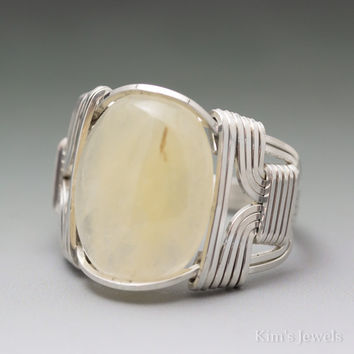 Aragonite Sterling Silver Wire Wrapped Cabochon Ring