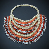 Seed Necklace. Large Tribal Shell and Seed Fringe Necklace. Red/Orange/White Seed/ Cowries.Papua New Guinea Ceremonial Neck Ornament