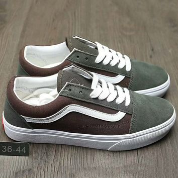 Vans Trending Casual Canvas Old Skool Flats Sneakers Sport Shoes Coffee+Army green G-A0-HXYDXPF