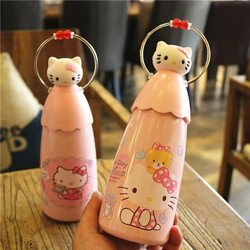 OUSSIRRO 320ml Children Lovely Originality Cartoon Hello kitty Thermos Schoolgirl Portable Mini 304 Stainless Steel water bottle