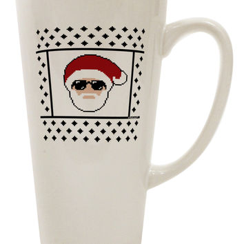 Cool Santa Christmas Sweater 16 Ounce Conical Latte Coffee Mug