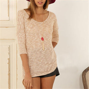 New Autumn Female Knitted Sweater Plus Size Knittedwear Three Quarter 3/4 Sleeve O-neck Back Button Pullovers 71305 GS