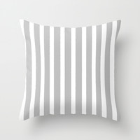 Grey & White Stripe Throw Pillow by Bohemian Bear By Kristi Duggins