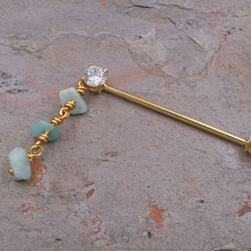 Gold Dangle Industrial Barbell Scaffold Piercing