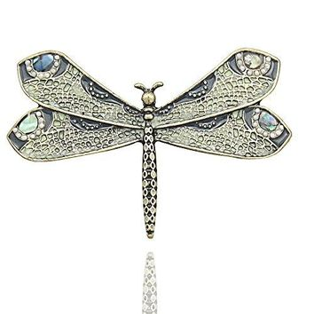 QampQ Fashion Retro Art Nouveau Victorian Dragonfly Simulated  Pearl Wing French Lapel Brooch Pin Badge