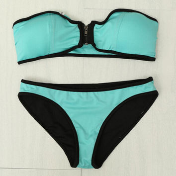 Mint Zipper Bikini Set Beach Swimsuit Gift 97