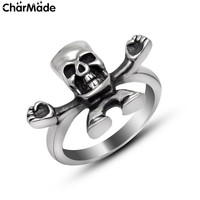 Arms Open Skeleton Antiqued Angry Ghouls Skull Ring Mens Stainless Steel Biker Jewelry Cool Accessory Size 5-10 CharMade R409